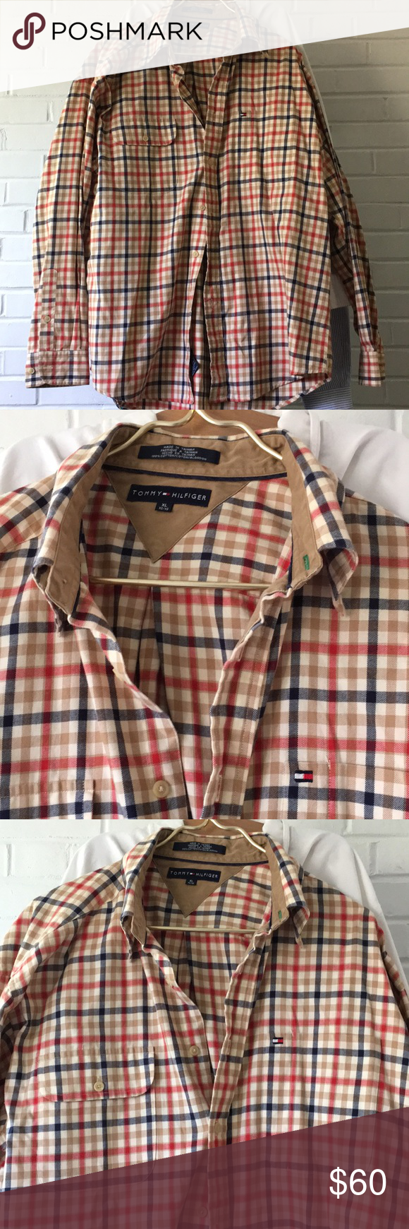 d599a3eeb Vintage Tommy Hilfiger Nova Plaid Cotton Shirt XL Awesome vintage Tommy  plaid Cotton shirt. Awesome Colors and condition. Soft yet Sturdy cotton  similar to ...