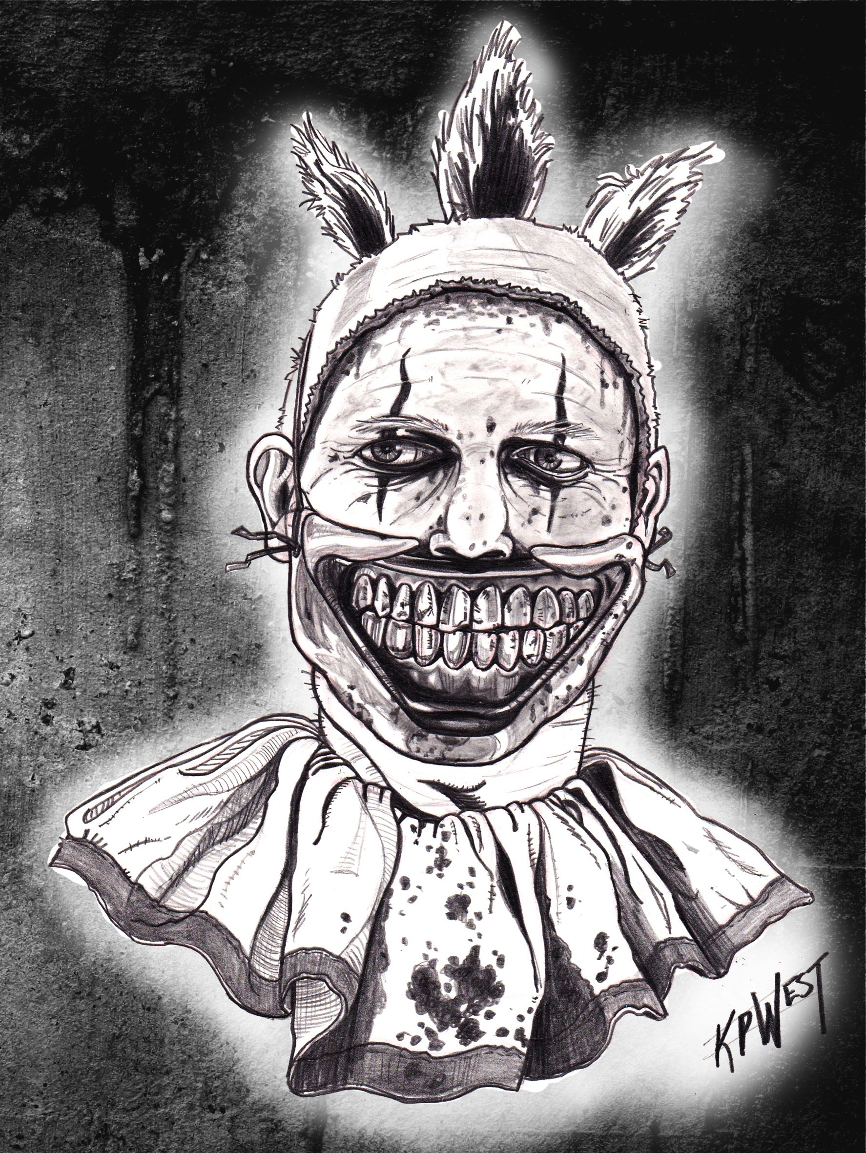A pencil drawing i did of twisty the clown from american horror story freakshow i added the background in photoshop