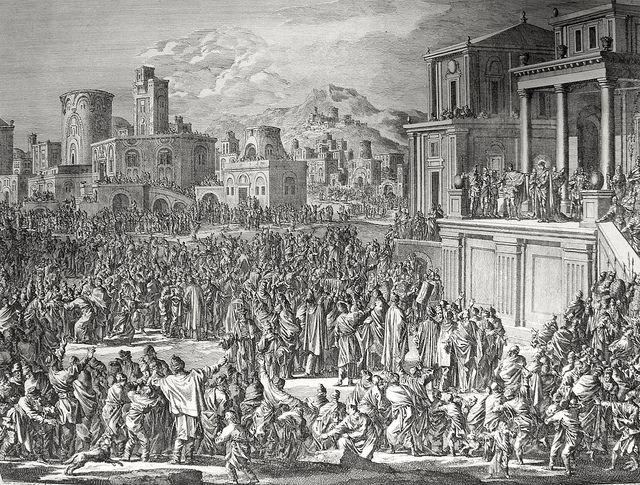 Phillip Medhurst presents John's Gospel: Bowyer Bible print 5555 Pilate appeals to the mob John 19:4-5 Luyken and son on Flickr. A print from the Bowyer Bible, a grangerised copy of Macklin's Bible in Bolton Museum and Archives, England.