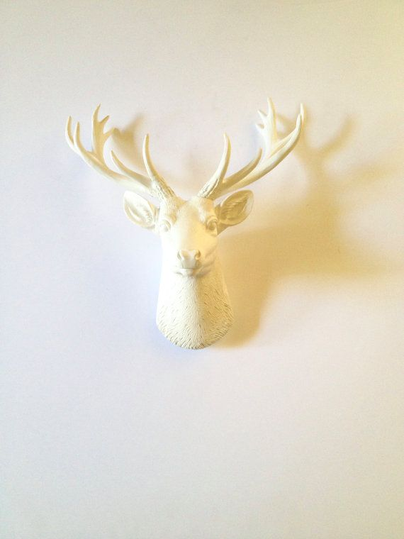 WHITE SMALL Deer Head Faux Taxidermy wall mount wall hanging / stag ...