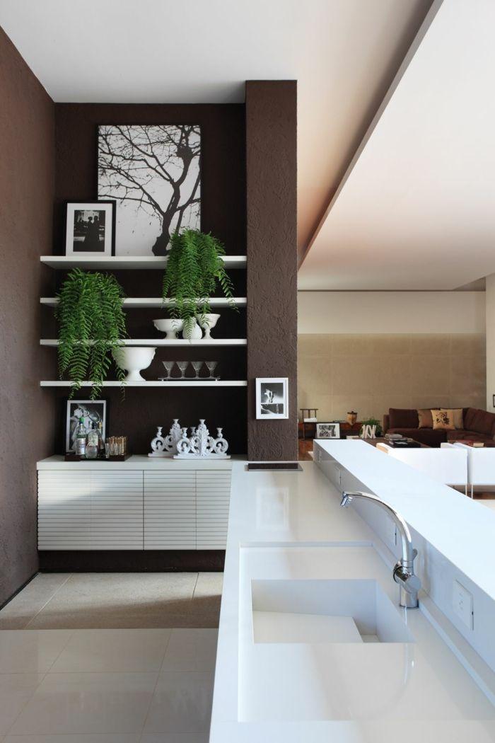 moderne küchen wohnzimmer braune wände pflanzen   weisse küche ... - Moderne Kuche Mit Wohnzimmer