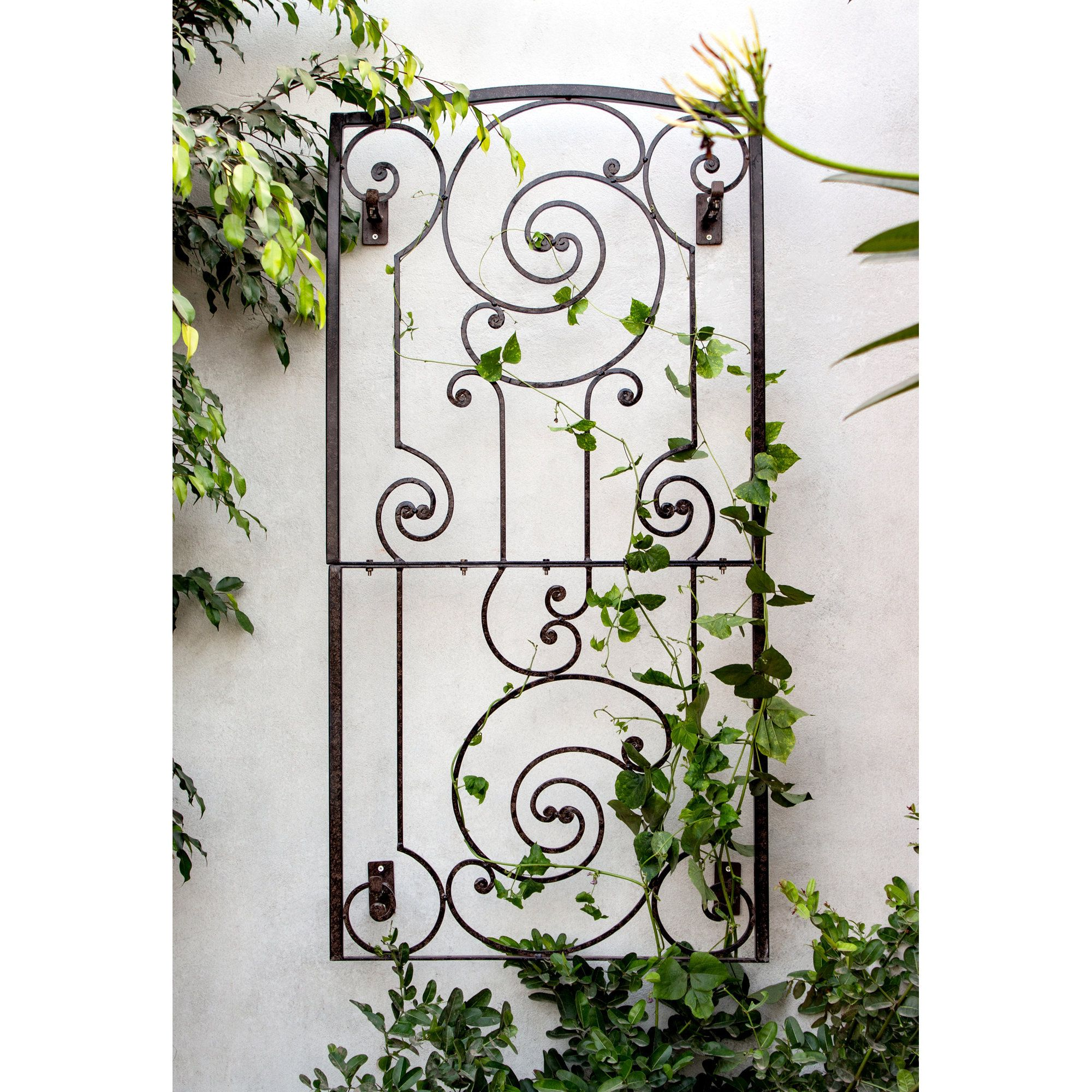 H Potter Iron Garden Trellis Panel With Wall Brackets Outdoor