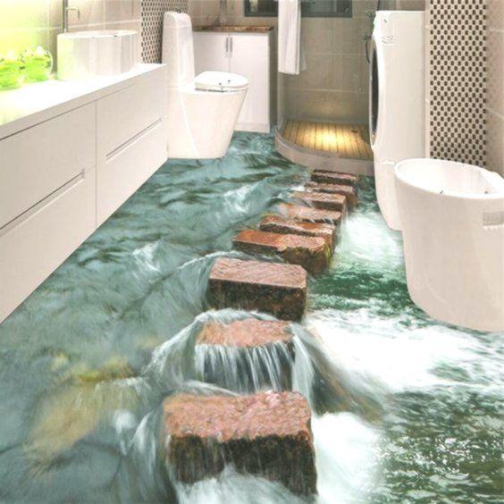 Custom Photo Floor 3D Wallpaper Modern Art River Stones Bathroom Floor Mural3D  Custom Photo Floor 3D Wallpaper Modern Art River Stones Bathroom Floor Mural3D