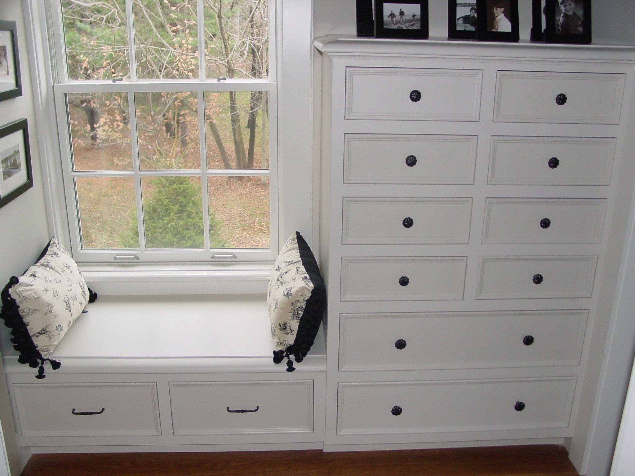 Builtin dresser with window seat bedroom built ins