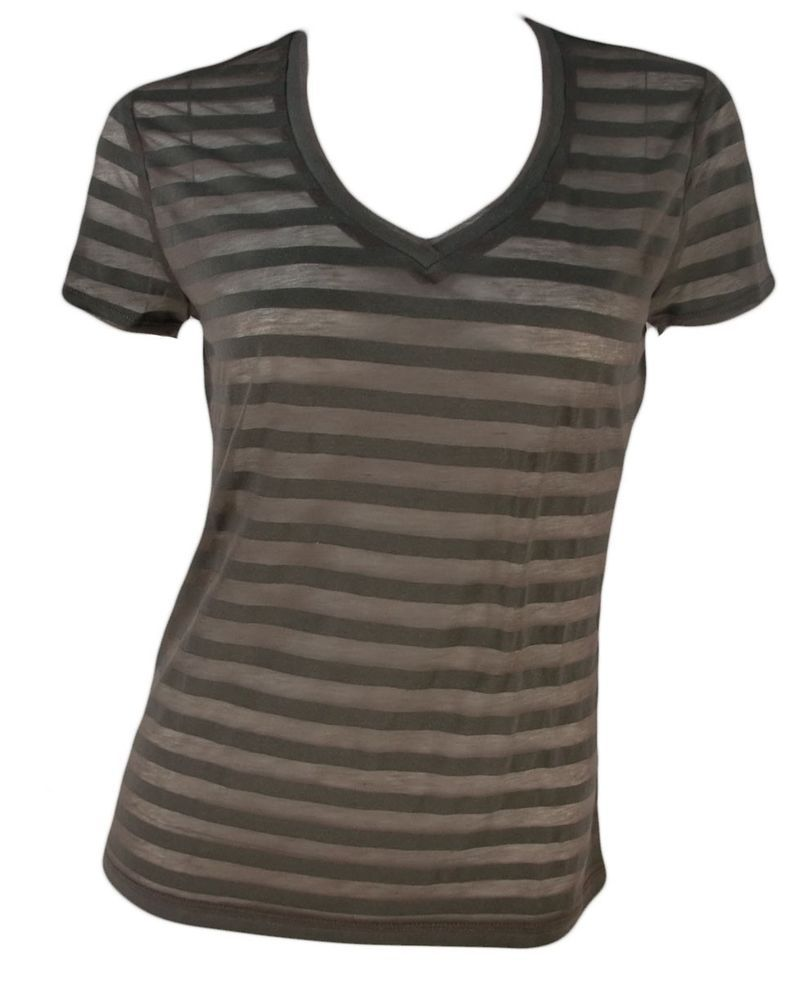 Ann Taylor Vneck Shirt Petite XSP Top Sheer Striped Short Sleeve XS Tshirt New #AnnTaylor #KnitTop #Casual