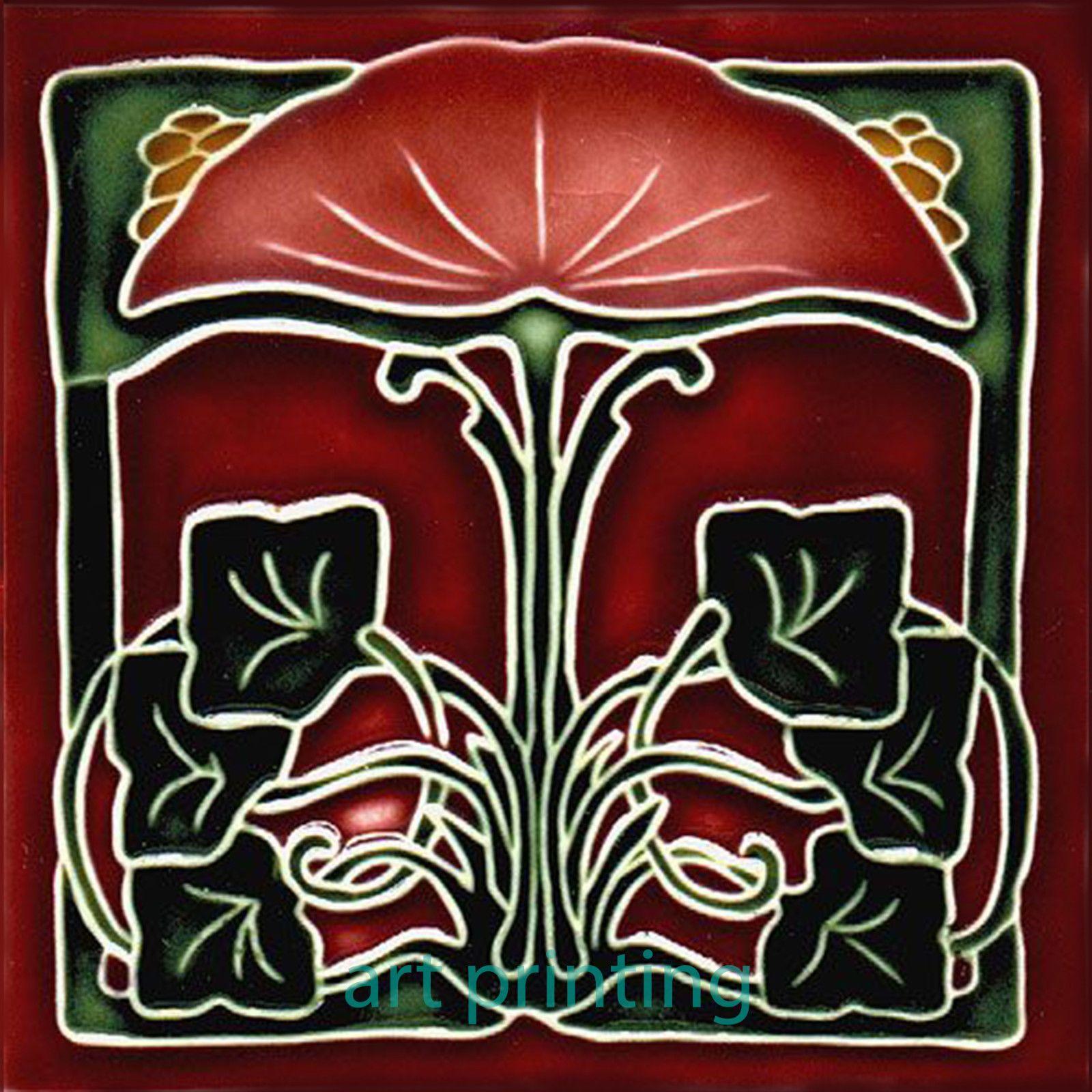 Art Nouveau Ceramic decorative wall tile 6 X 6 Inches 16