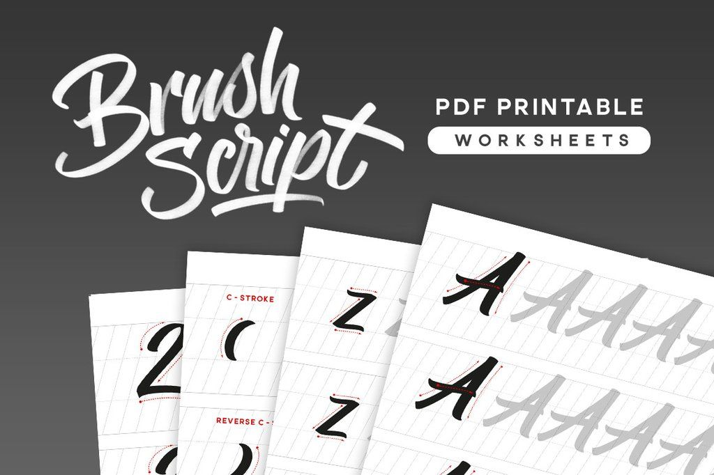 Brush script pdf calligraphy worksheets design tips pinterest