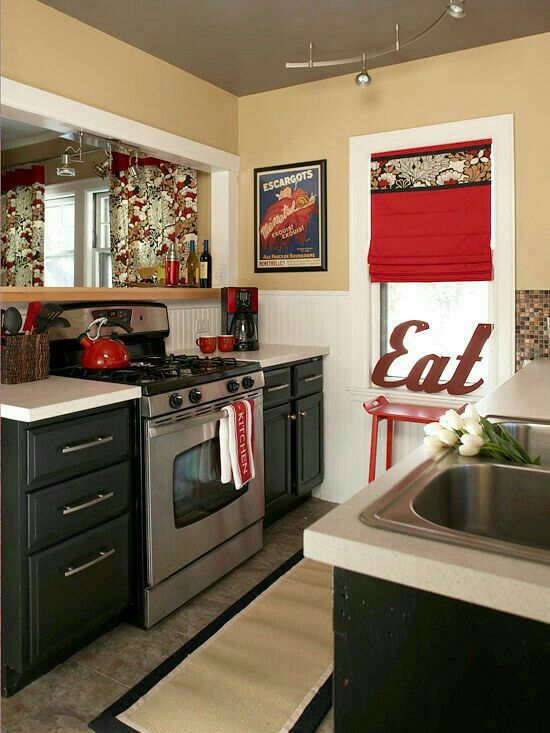 Pin by Gwen on Red-Black-White-Gold | Small kitchen redo ...