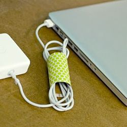 Pretty toilet paper roll to tame those crazy cords!
