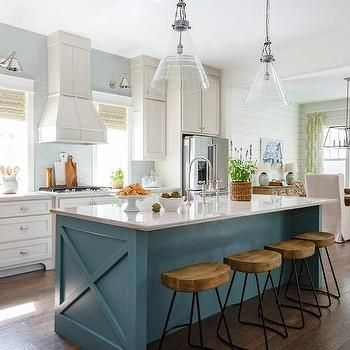 Bright Colored Accent Chairs Rental For Sale I Prefer The Cut Out Over Bar Overhang. Blue Kitchen Island With Wood And Iron Barstools ...