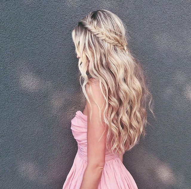 Braided crown with wavey long hair