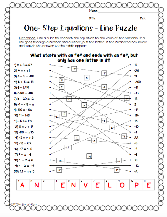 One Step Equations Line Puzzle Activity Secondary Math Resources Two-Step Equation Puzzle Worksheets Solving Equations In Algebra 1
