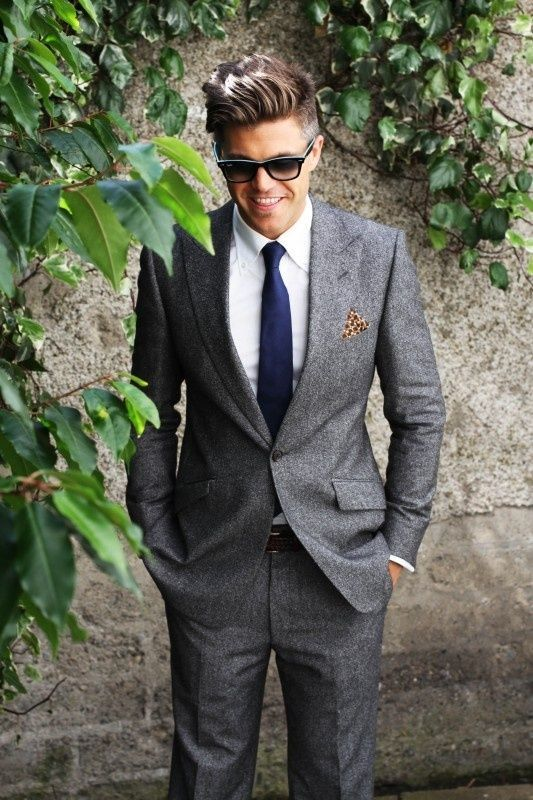 Men's Grey Blazer, White Dress Shirt, Grey Dress Pants, Navy Silk ...