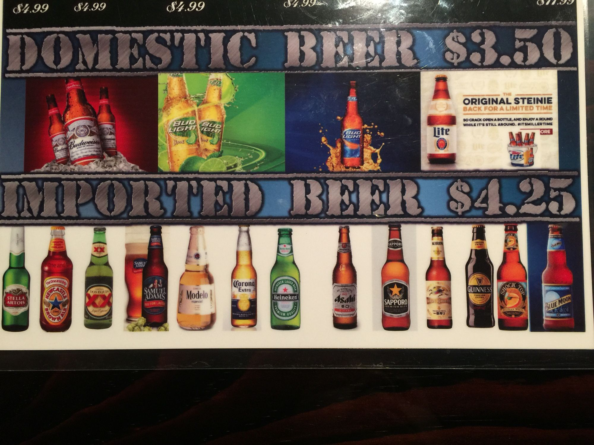 smokin crawfish beers list domestic and imported. | ******happy hour