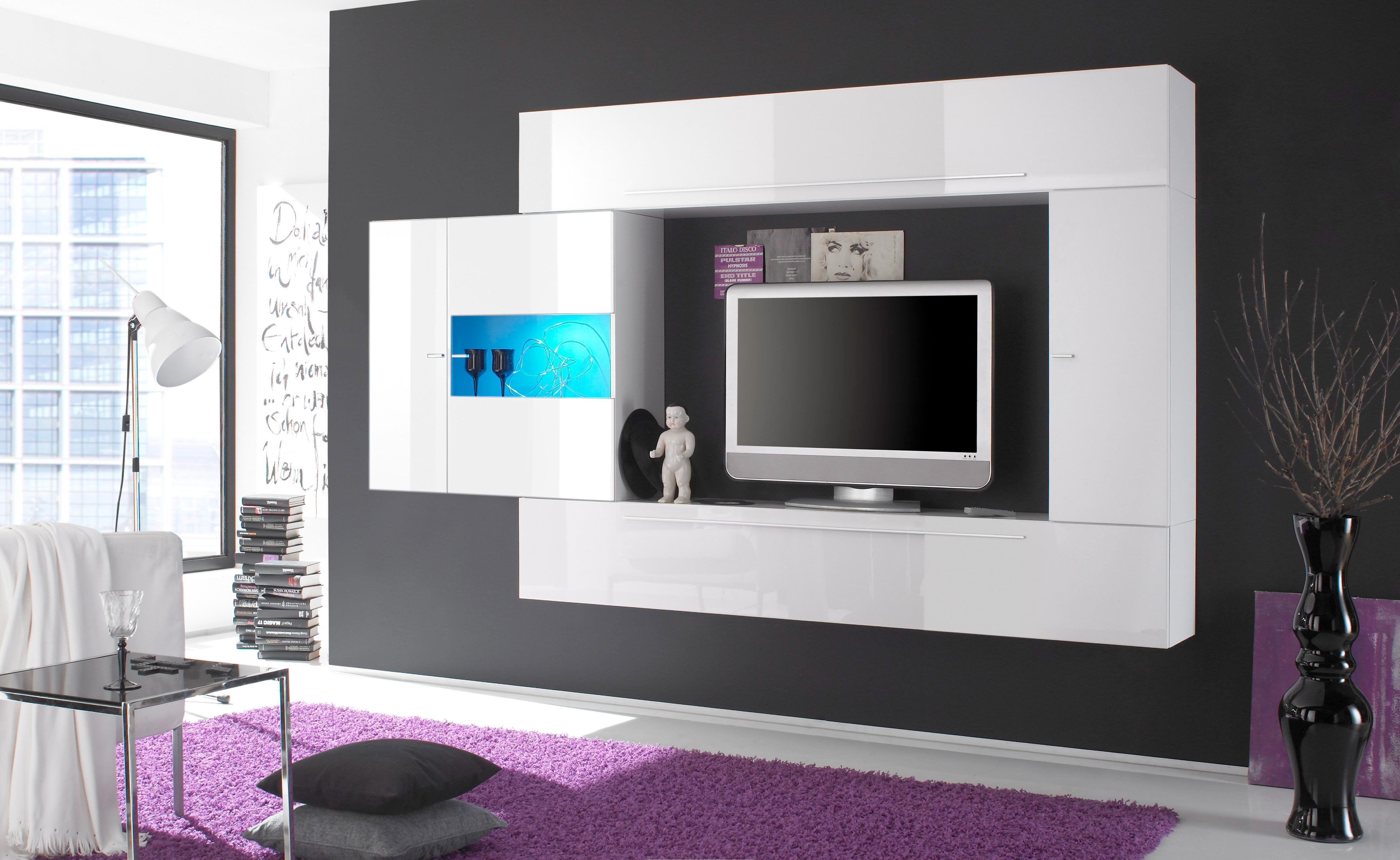 LC TV-Wand weiß, Hochglanz Jetzt bestellen unter: https://moebel ...