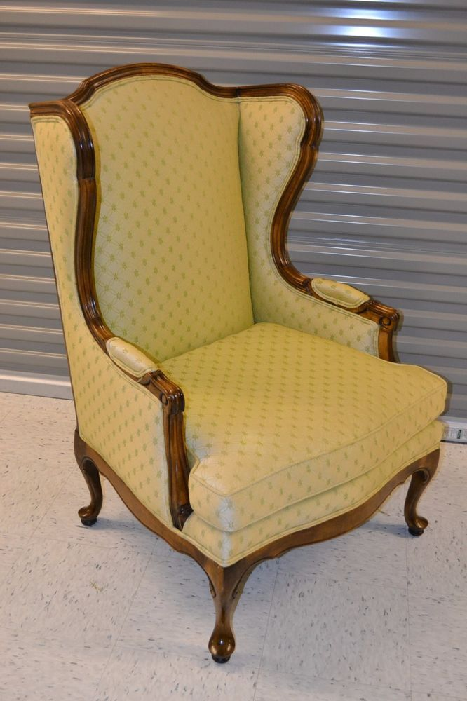Ethan Allen Upholstered Wing Chair Vintage Queen Anne Lounge