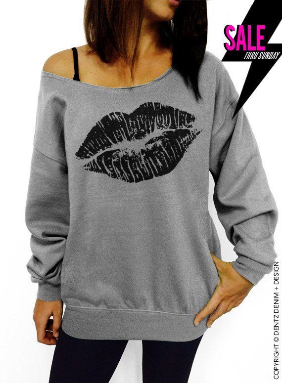 Lipstick Kiss - Valentine's Day - Gray Slouchy Oversized Sweatshirt by DentzDenim