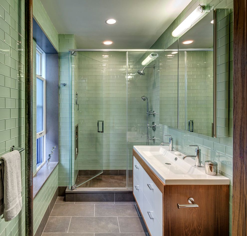 Green Glass Subway Tile Bathroom Midcentury With Double Faucets Glass Shower Part 54
