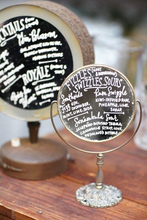 Idee menu mariage miroir sur pied party pinterest for Idee menu reception amis