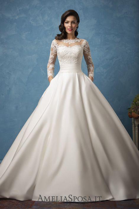 Long sleeve ballgown Wedding dress with pockets Elena - AmeliaSposa ...