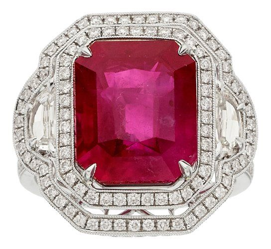Burma ruby, diamond, platinum ring