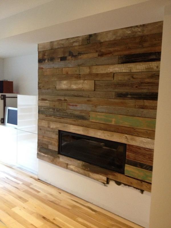 Reclaimed wood fireplace Reclaimed wood fireplace