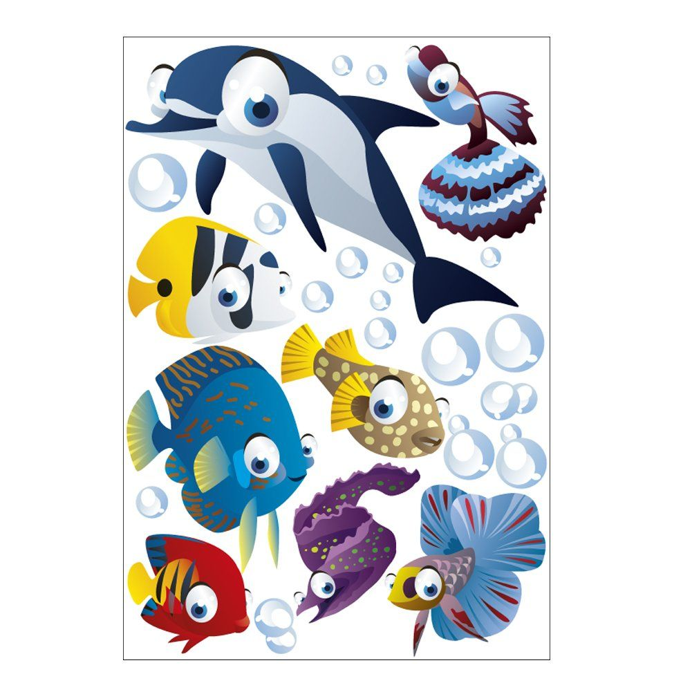 Wandsticker Unterwasserwelt Fische Ozean Wandtattoo Fur Kinderzimmer Kinder Badezimmer Junge Kinder Badezimmer Wandtattoo Kinderzimmer Kinder Zimmer