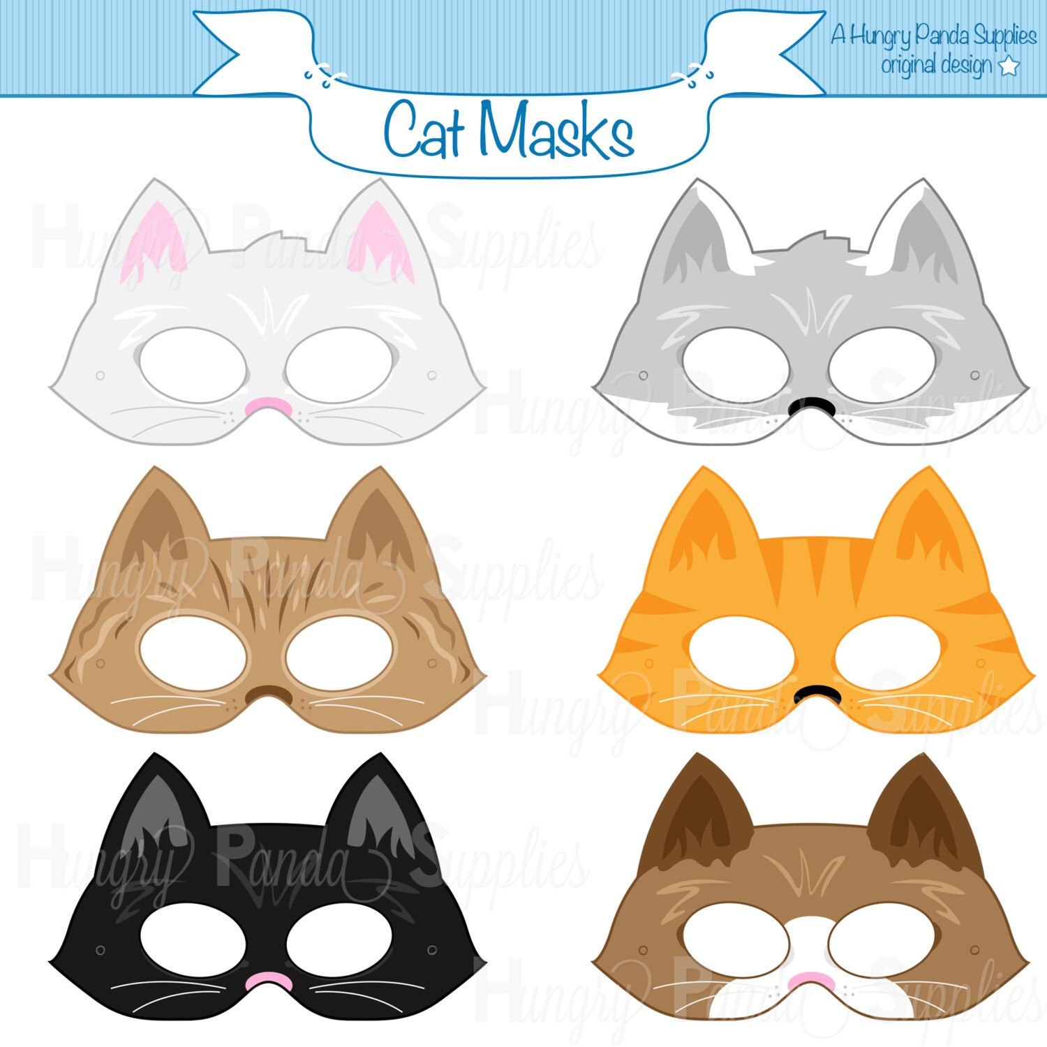 Cats Printable Masks, cat mask, kitten mask, kitty mask, animal ...