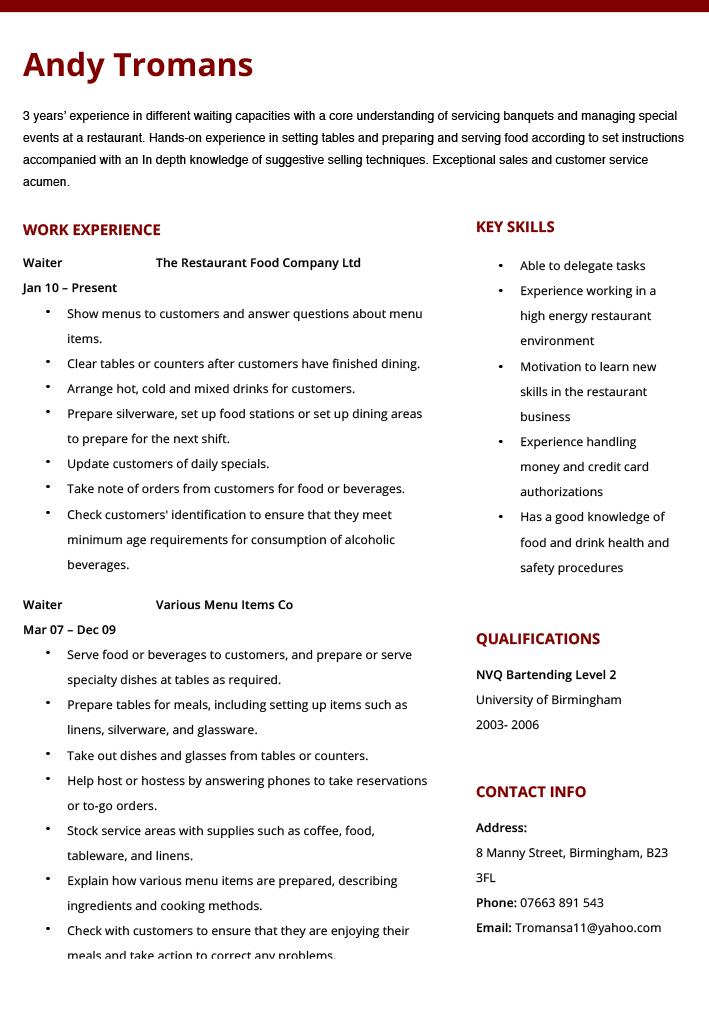 Resume Examples Waitress | Cv examples, Sample resume and Resume ...