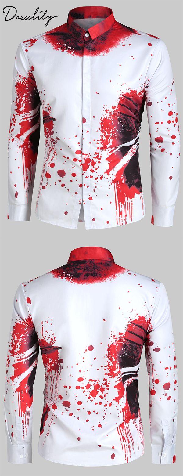 Novelty Printed Casual Long Sleeves Shirt Casual Long Sleeve Shirts Mens Pants Fashion Mens Fashion Uk