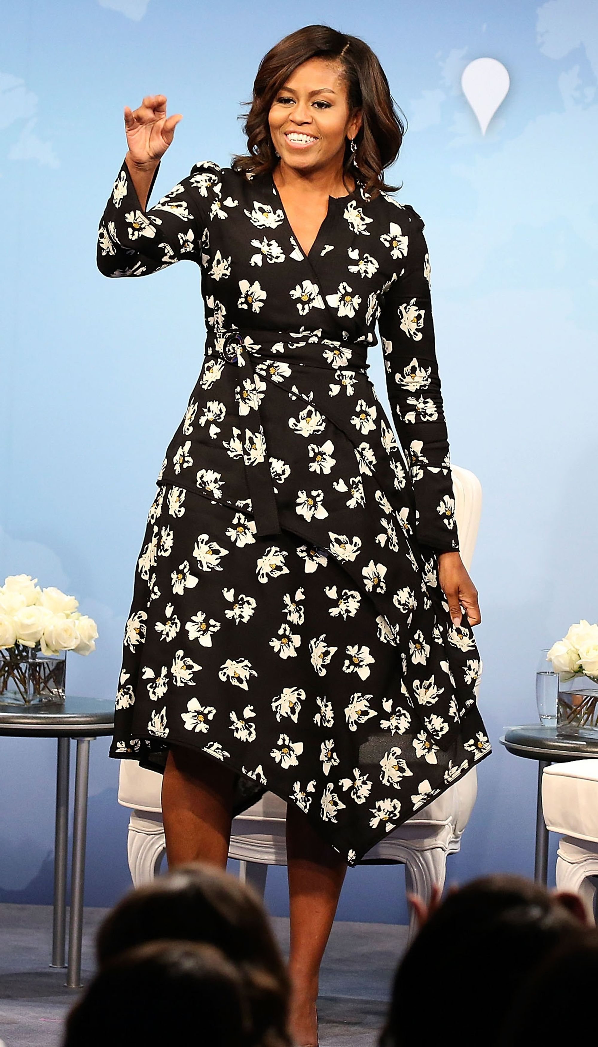 e745bdc6a03 Michelle Obama s Best Looks Ever - 2016 - Black Floral Dress from  InStyle.com