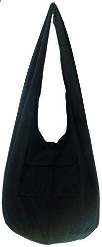 693b3830ce Rare Asian East Hippie Hobo Cotton Sling Cross-body Handmade Asia Black Thai  Pattern Bag Shoulder Purse. Visit website to read more description.