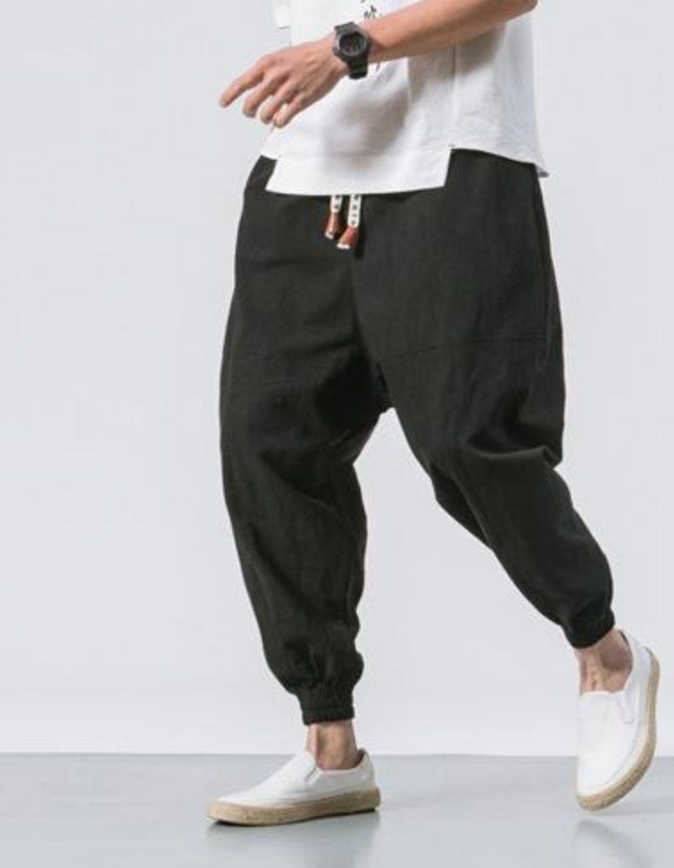7f3cdbf3b60311 Drop Crotch Linen Trousers Sirwal with in Black | Fashionary in 2019 ...