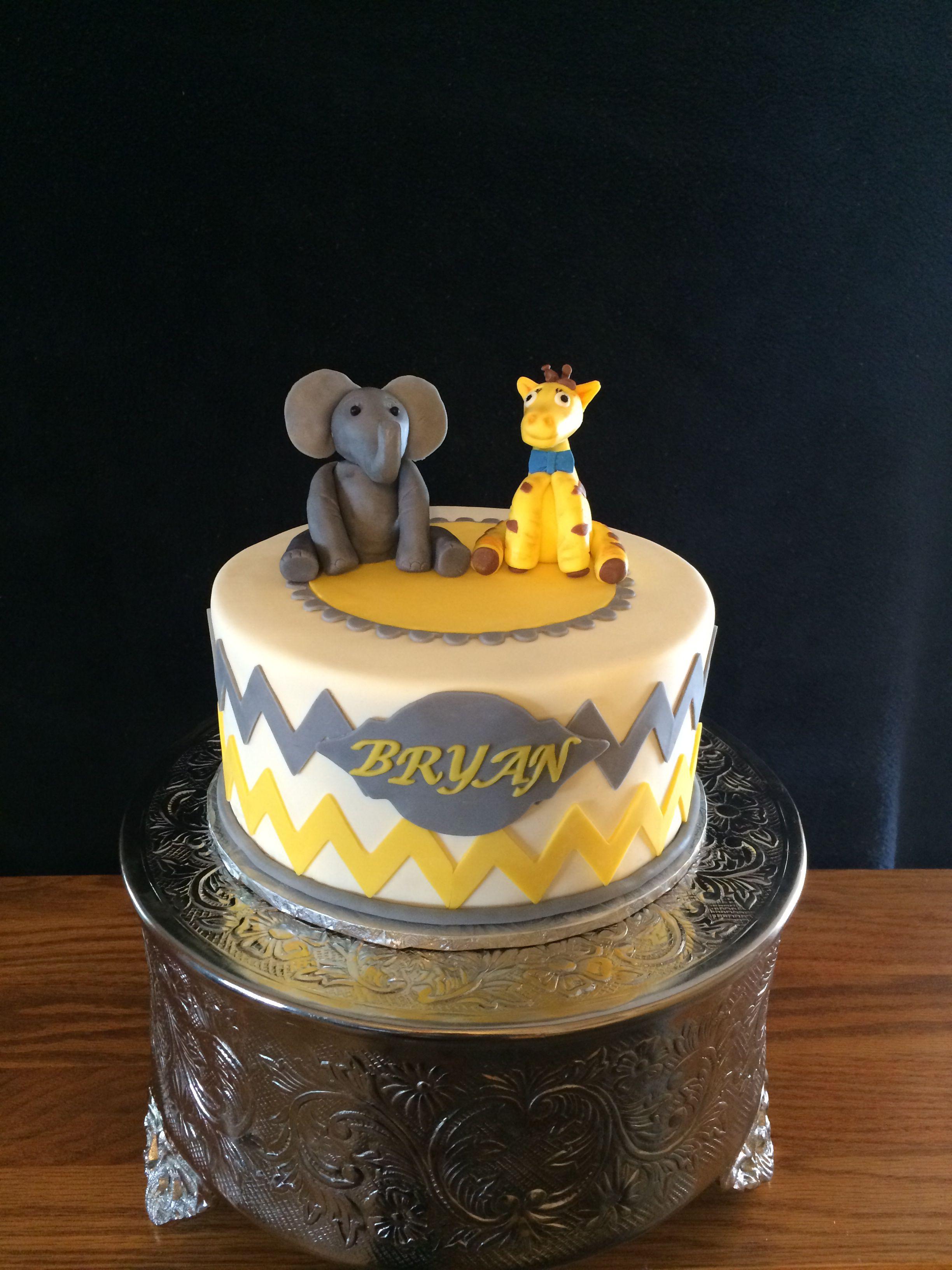 Yellow And Grey Baby Shower Elephant Giraffe Cake