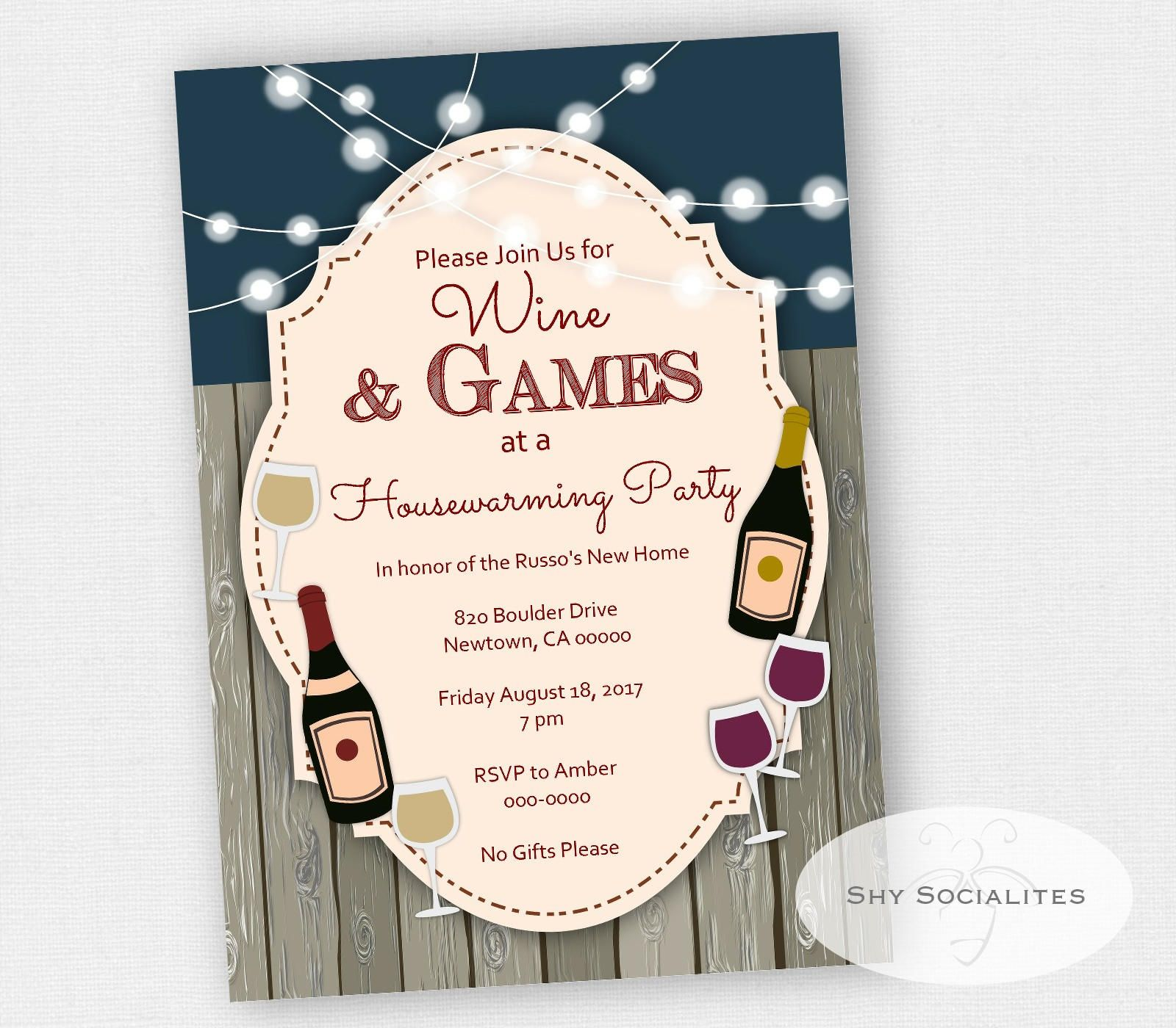 Wine Party Invitation  Backyard Party  Housewarming Invitation