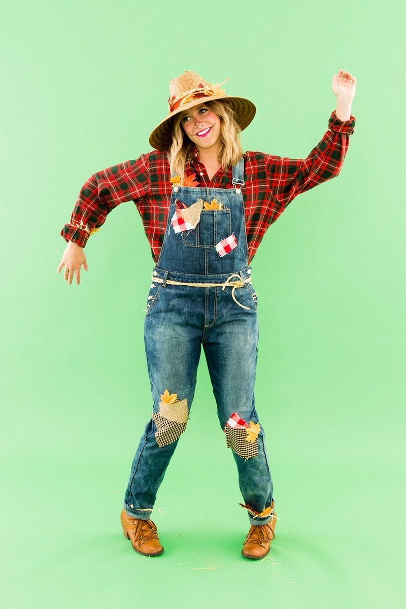 DIY This Last Minute Scarecrow Costume With Pieces from