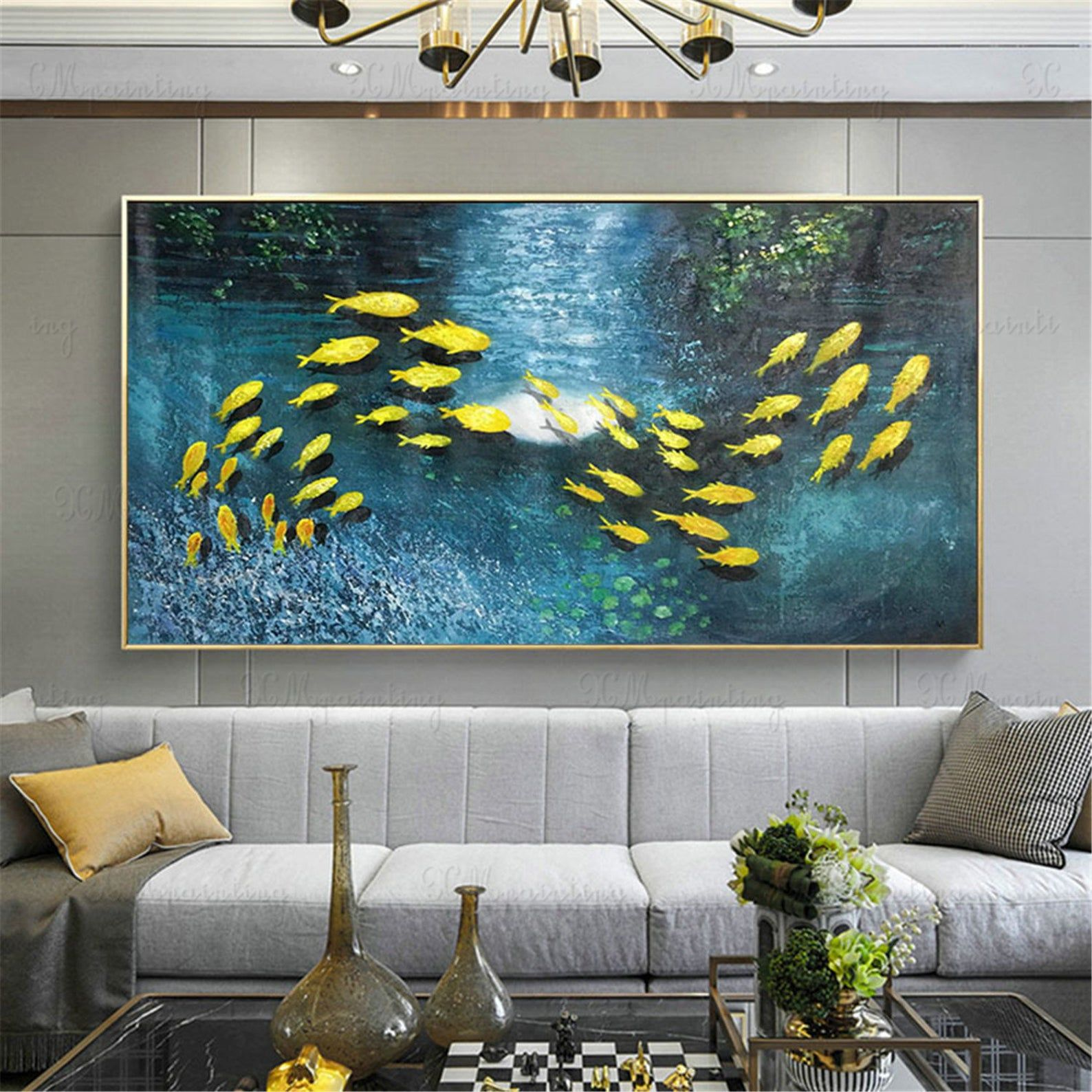 Abstract Painting On Canvas Gold Fish Original Acrylic Wall Art Pictures For Living Room Home Decor Gold Art Texture Deer Blue Quadros Decor Malerei Gemälde Für Wohnzimmer Abstrakt
