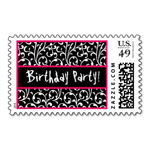 Black White Pink Swirl Stamps