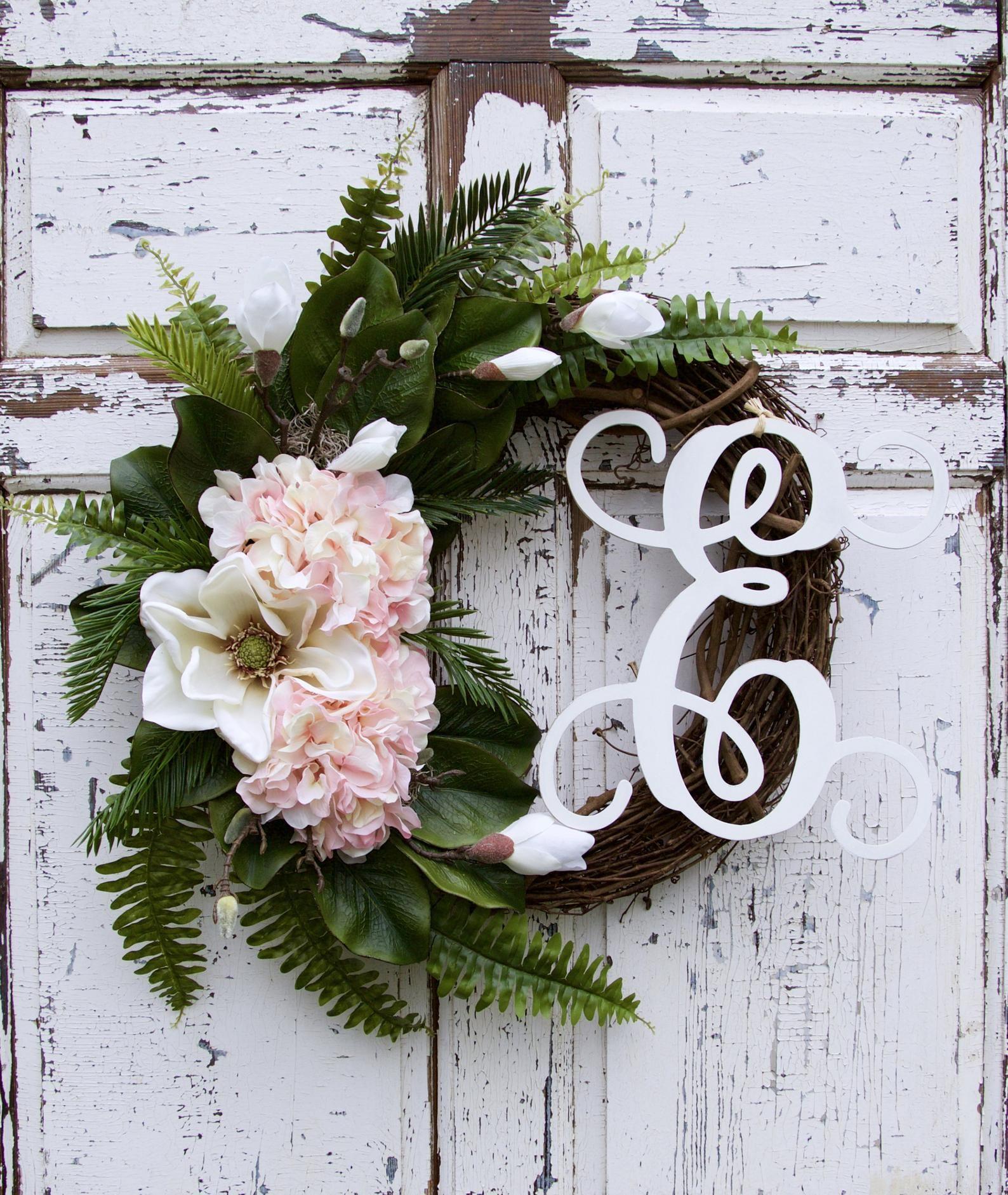 Photo of Monogram Wreath Magnolia Wreath Pink Hydrangea Wreath Last Name Wreath Year Round Wreath Initial Wreath Vine Letter Wreath Front Door Wreath