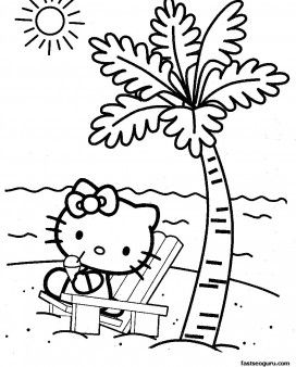 Free Coloring Pages For Kids Hello Kitty At The Beach Hello Kitty Colouring Pages Hello Kitty Coloring Hello Kitty Printables