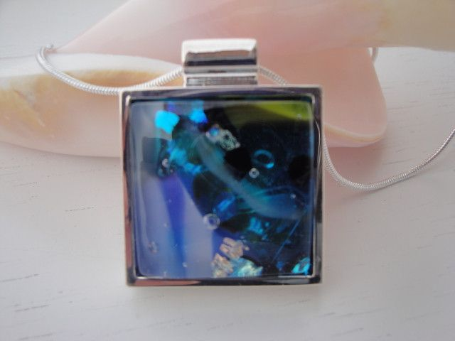 Tropical Colors Square Pendant with Fused-Glass-Jewel