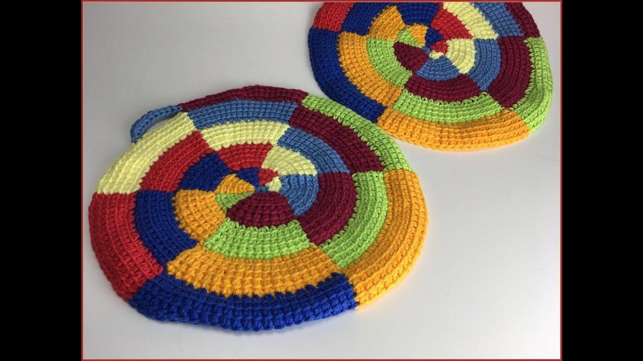 Tunisian Crochet | Häkeln Tunesisch Entrelac - Topflappen im Wirbel ...