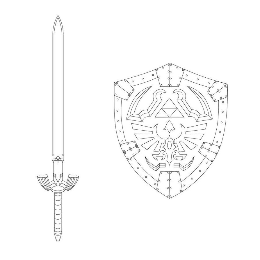 Master Sword And Hylian Shield 2014 Coloriage Dessin Cosplay