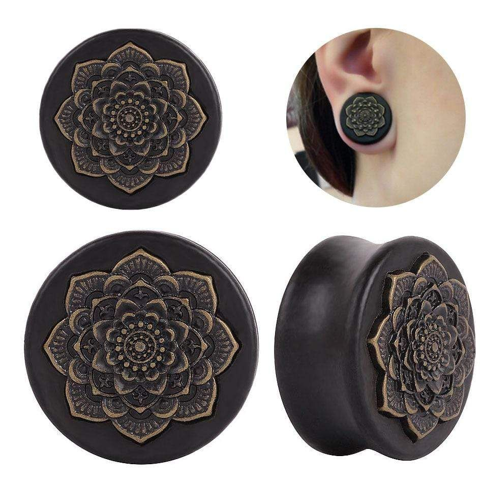 BLACK WOODEN FLOWER EAR PLUGS Stretchers Jewellery Saddle Tunnel TIMBER