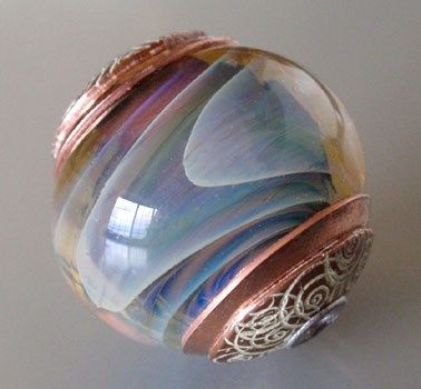 Capped Handmade Glass Lampwork Focal Bead - Desert Clouds
