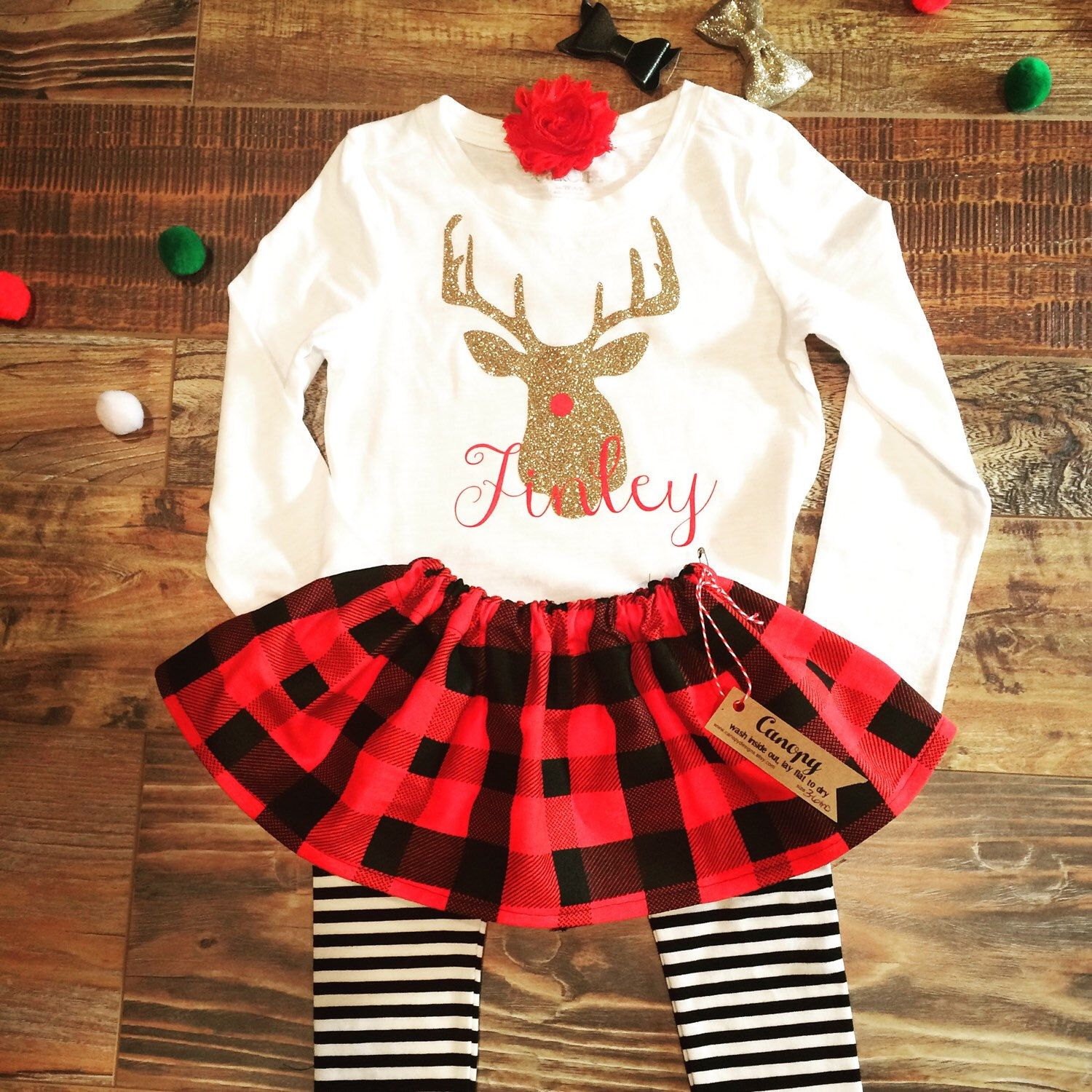 07fd3f746a33 Baby Girl Buffalo Plaid Christmas Outfit- Girl Toddler Winter Outfit- Baby  Christmas Outfit for