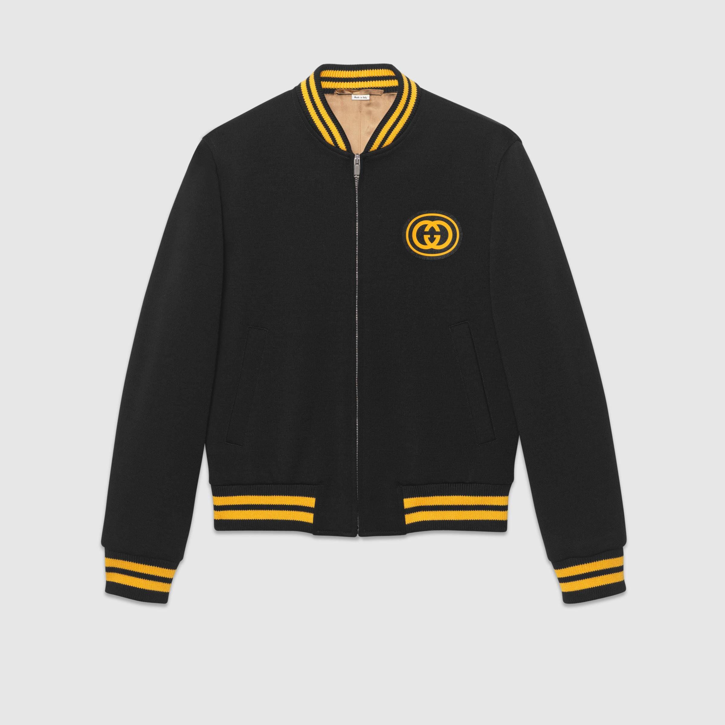 Bomber Jacket With Interlocking G In Black Wool Jersey Gucci Men S Bombers Bomber Jacket Mens Jackets Casual Varsity Jacket [ 2400 x 2400 Pixel ]