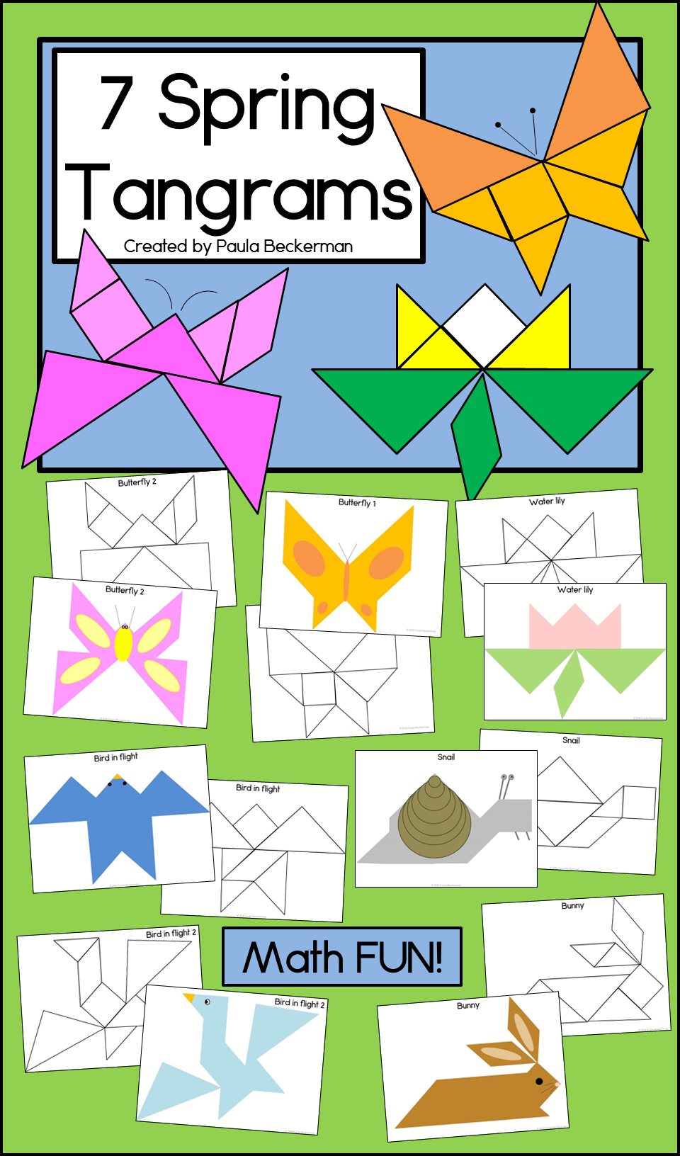 Spring themed tangrams for fun math learning with shapes. Includes 2  butterflies [ 1632 x 960 Pixel ]