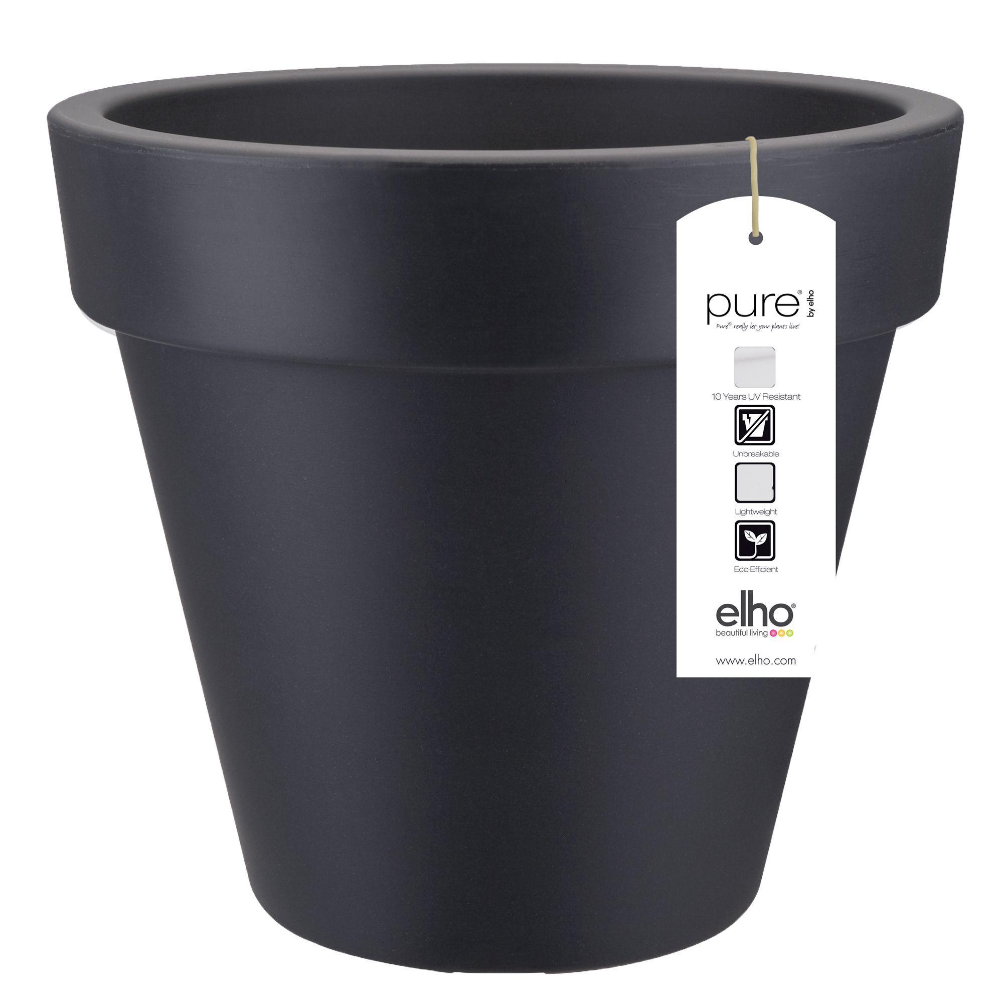 Pure jardin Cache-pot Elho gris foncé en plastique H89xD100cm ...