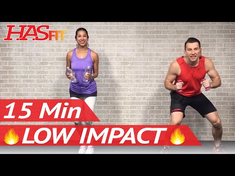 15 min low impact aerobics  quiet cardio workout for